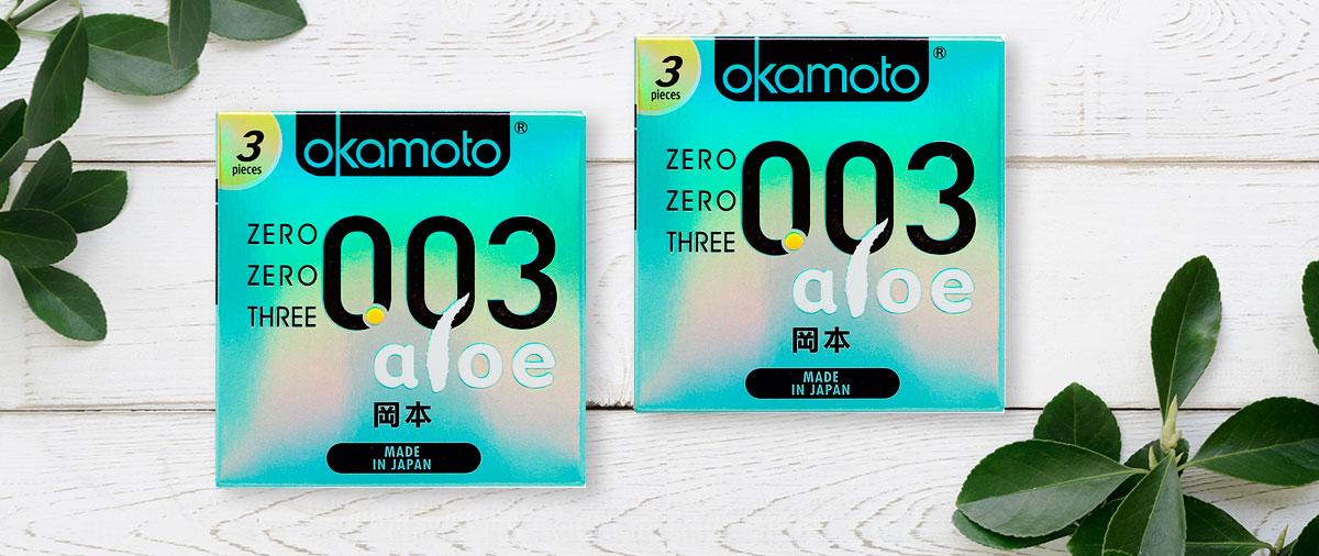 Bao Cao Su Okamoto 0.03 Aloe Tinh Chất Lô Hội Hộp 3 Cái