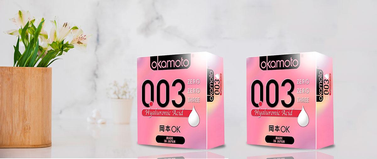 Bao Cao Su Okamoto 0.03 Hyaluronic Acid Siêu Mỏng Dưỡng Ẩm Và Bôi Trơn Hộp 3 Cái.