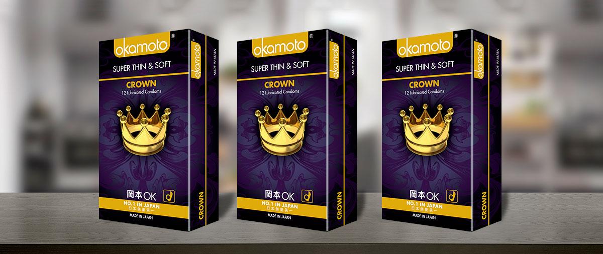 Bao Cao Su Okamoto Crown Kích Cở Nhỏ Siêu Mỏng Và Mềm Mại Hộp 10 Cái