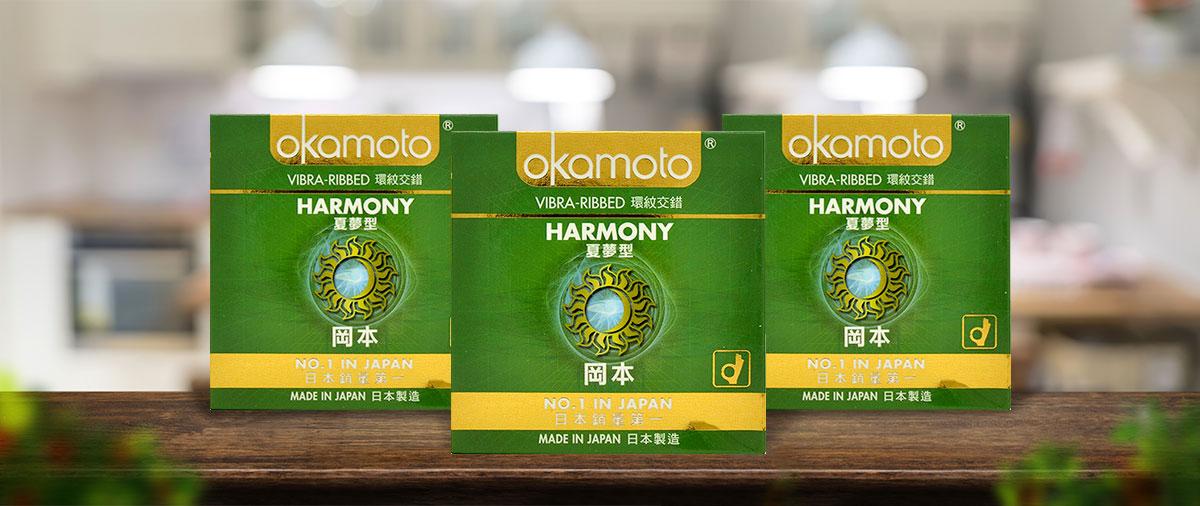 Bao Cao Su Okamoto Harmony Gân Sọc Hộp 3 Cái