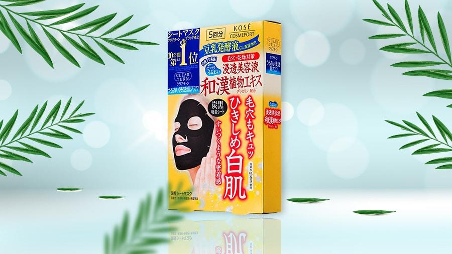 Mặt Nạ Trắng Da, Se Khít Lỗ Chân Lông Kosé Cosmeport Clear Turn Black Mask Hộp 5 Miếng
