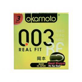 Bao cao su Okamoto 0.03 Real Fit Mỏng Với Khả Năng Co Rút Giúp Ôm Sát Hộp 3 cái.