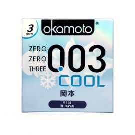 Bao Cao Su Okamoto 0.03 Cool Siêu Mỏng Bóng Láng Mát Lạnh Hộp 3 Cái