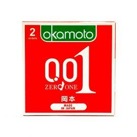 Bao Cao su Okamoto 0.01 PU Siêu mỏng Truyền Nhiệt Nhanh Hộp 2 Cái